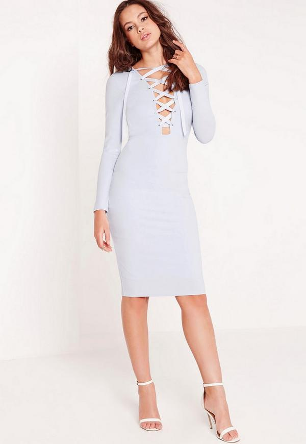 Long Sleeve Lace Up Bodycon Dress Blue