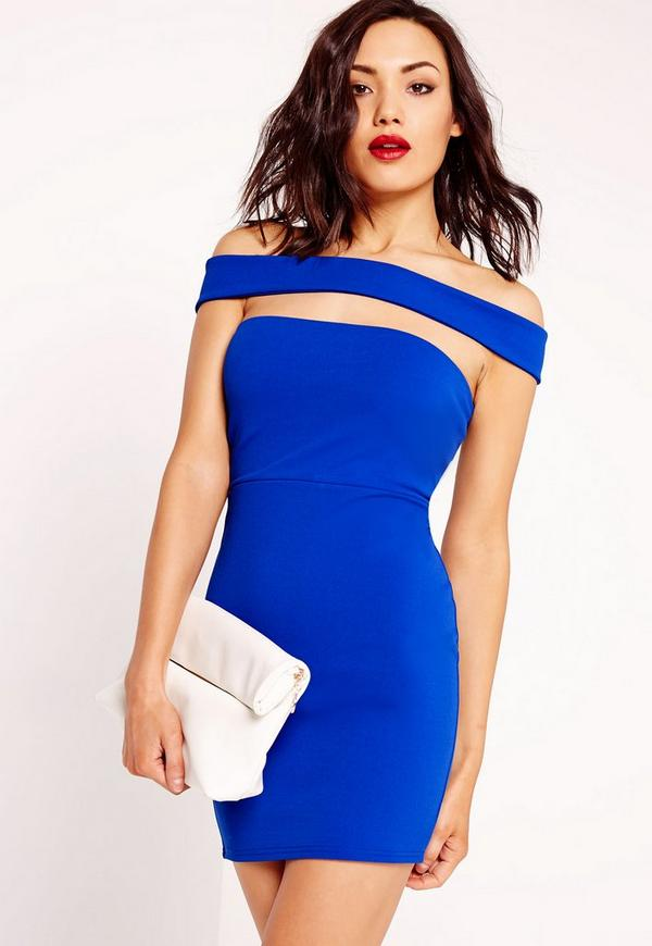 Cut Out Panel Bardot Bodycon Dress Blue