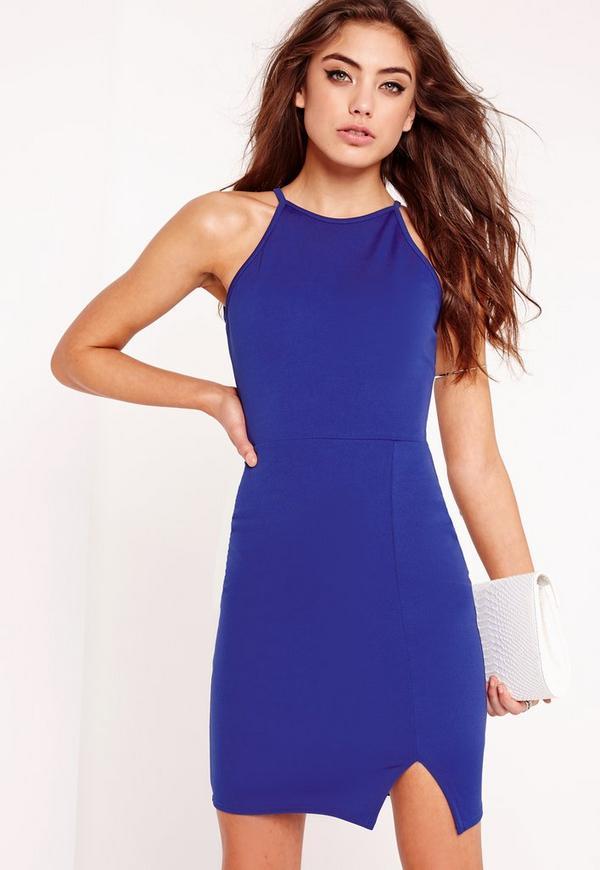 Square Neck Side Split Bodycon Dress Blue