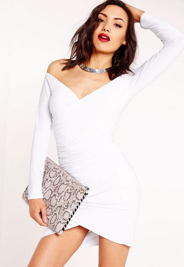 Slinky Bardot Bodycon Dress White