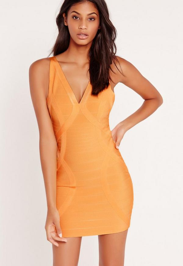 Premium Bandage Bodycon Dress Orange