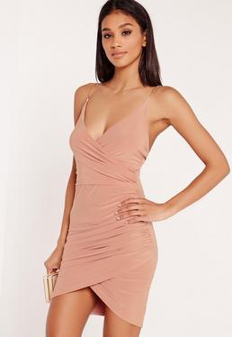 Chain Strap Ruched Bodycon Dress Pink