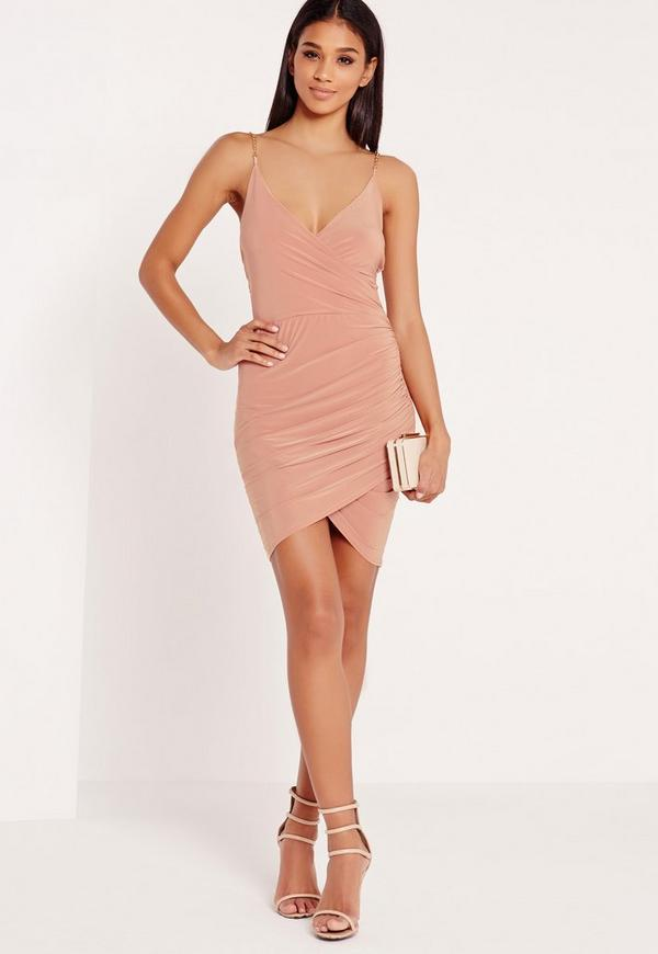 Chain Strap Ruched Bodycon Dress Pink | Missguided