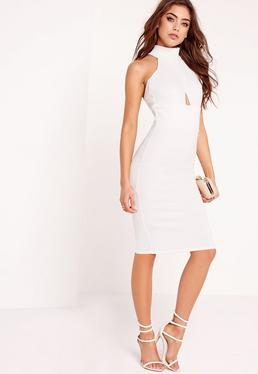 choker wrap top bodycon dress white
