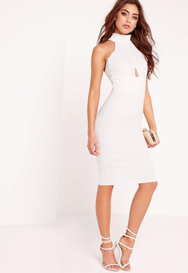 choker wrap top bodycon dress white