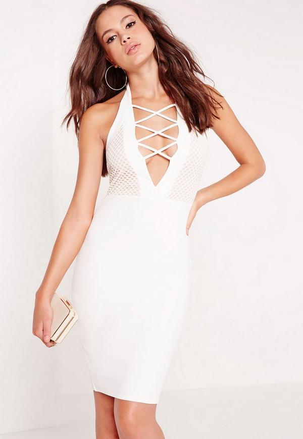 Halter Neck Lace Criss Cross Midi Dress White