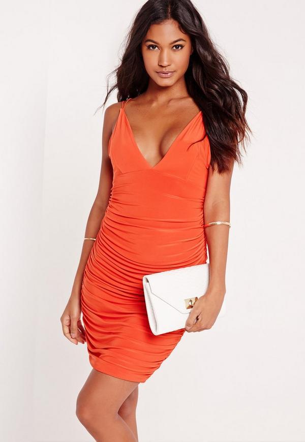 Slinky Strappy Ruched Bodycon Dress Orange