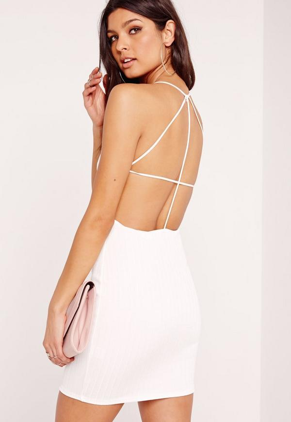 Strappy Ribbed Bodycon Dress White