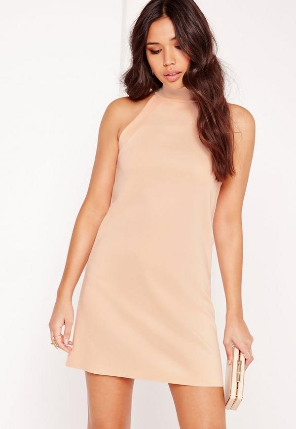 Racer High Neck Shift Dress Nude
