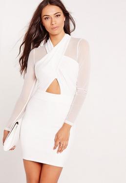 Long Sleeve Mesh Wrap Bodycon Dress White
