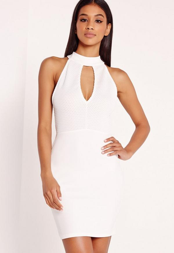 Choker Airtex Bodycon Dress White