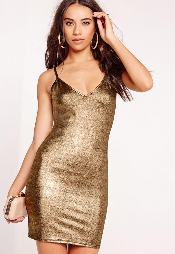 Strappy Metallic Bodycon Dress Gold
