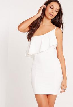One Shoulder Frill Detail Bodycon Dress White