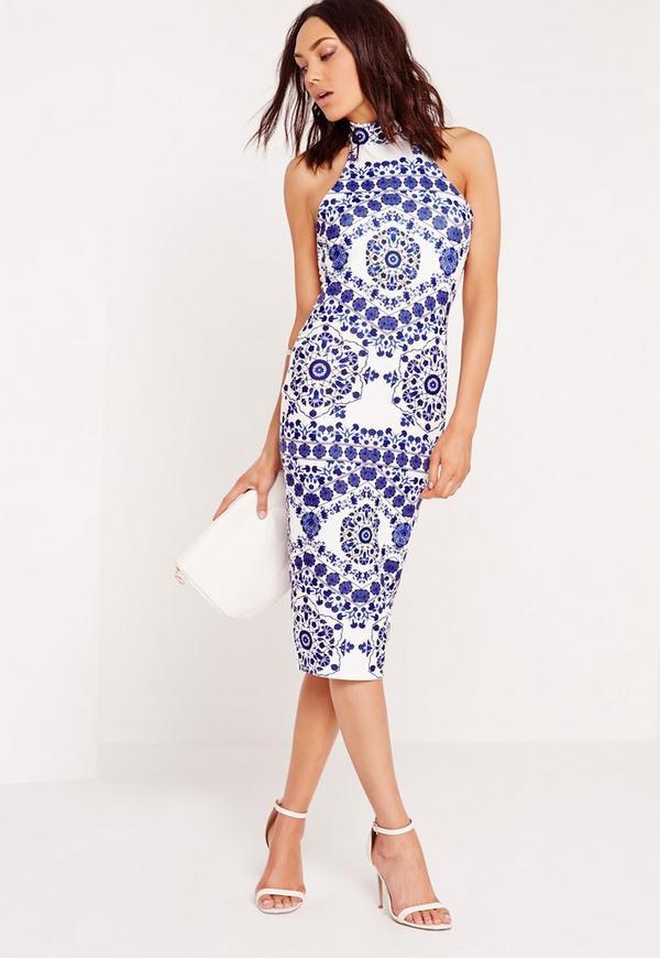 choker midi dress white and blue print