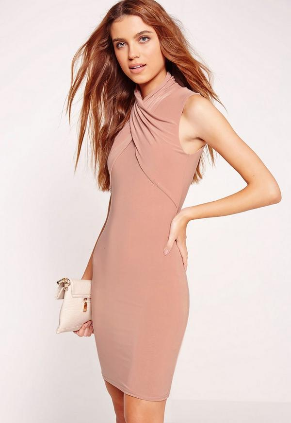 Slinky Cross Over Bodycon Dress Pink