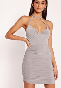 Slinky Choker Cowl Bodycon Dress Grey
