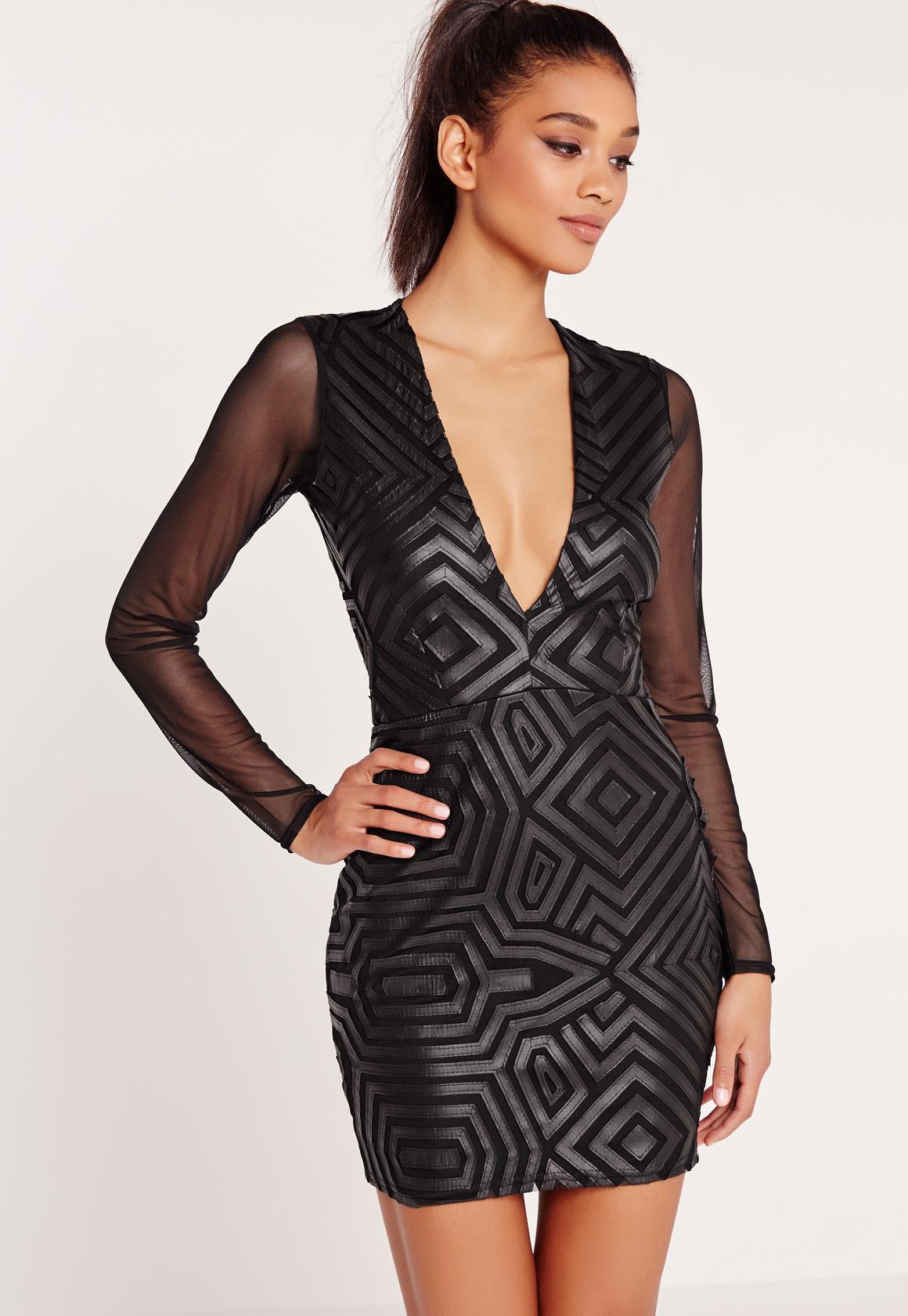 Black faux leather like dress