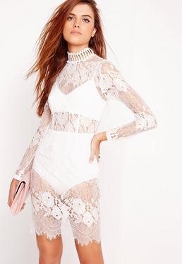 Lace High Neck Bodycon Dress White