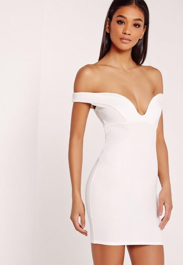 Plunge Bardot Bodycon Dress White