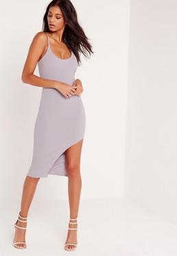 Strap Hem Detail Mini Dress Lilac