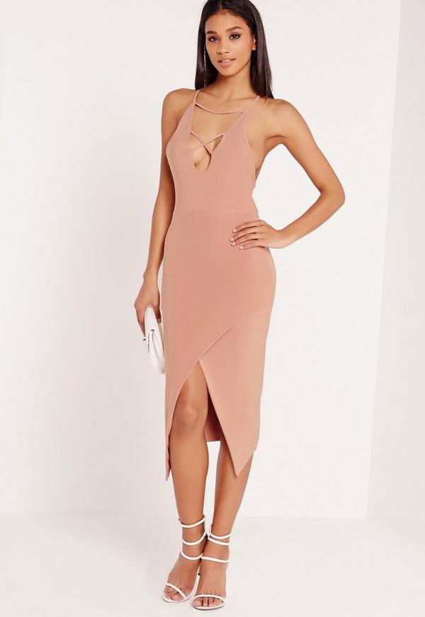Slinky Strap Detail Cross Over Midi Dress Pink