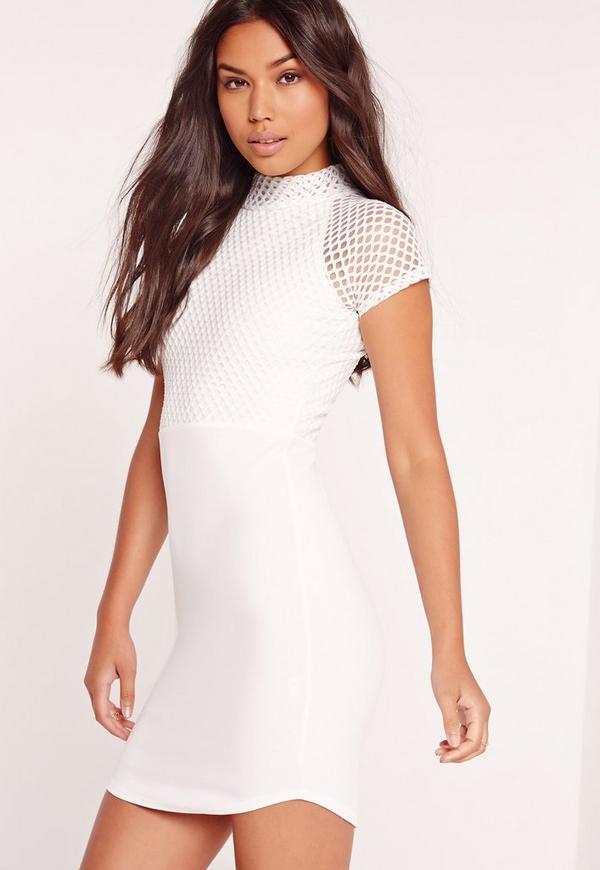 Fishnet Curved Hem Mini Dress White