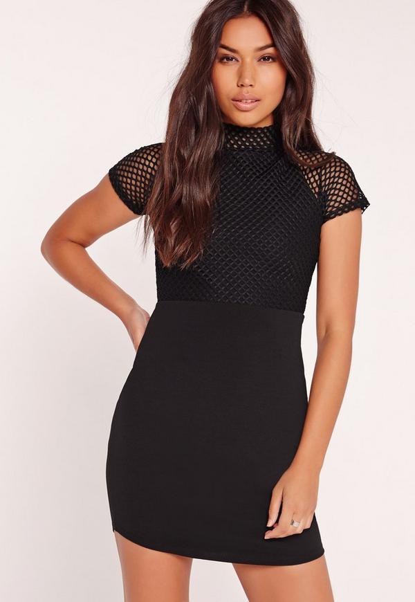Fishnet Curved Hem Mini Dress Black