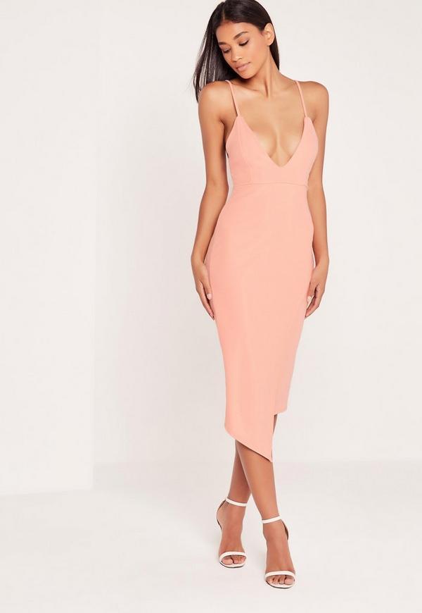Plunge Wrap Over Midi Dress Pink