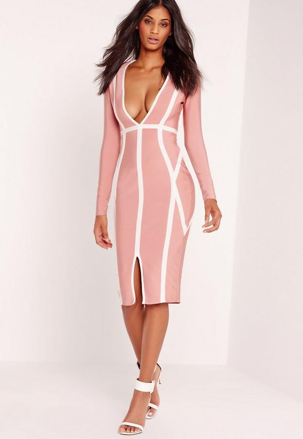 Premium Bandage Plunge Midi Dress Pink