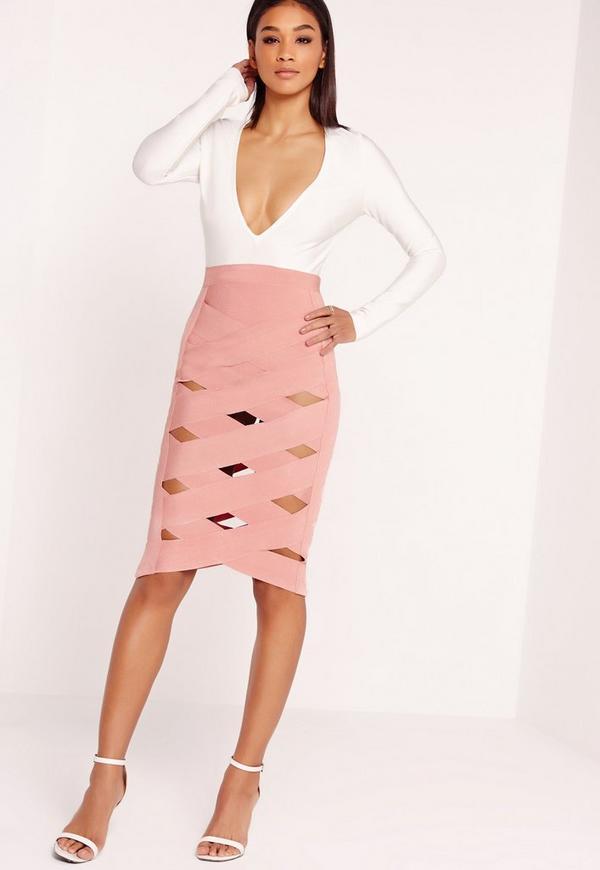 Premium Bandage Criss Cross Midi Dress Multi