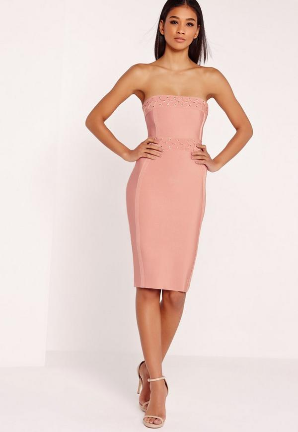 Premium Eyelet Detail Bandeau Midi Dress Pink