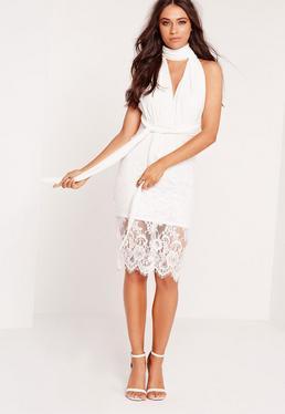 Robe mi-longue transformable jupe dentelle blanche