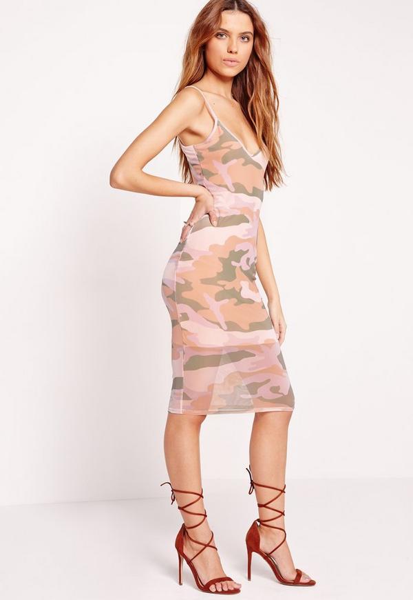 Mesh Camo Print Midi Dress Nude