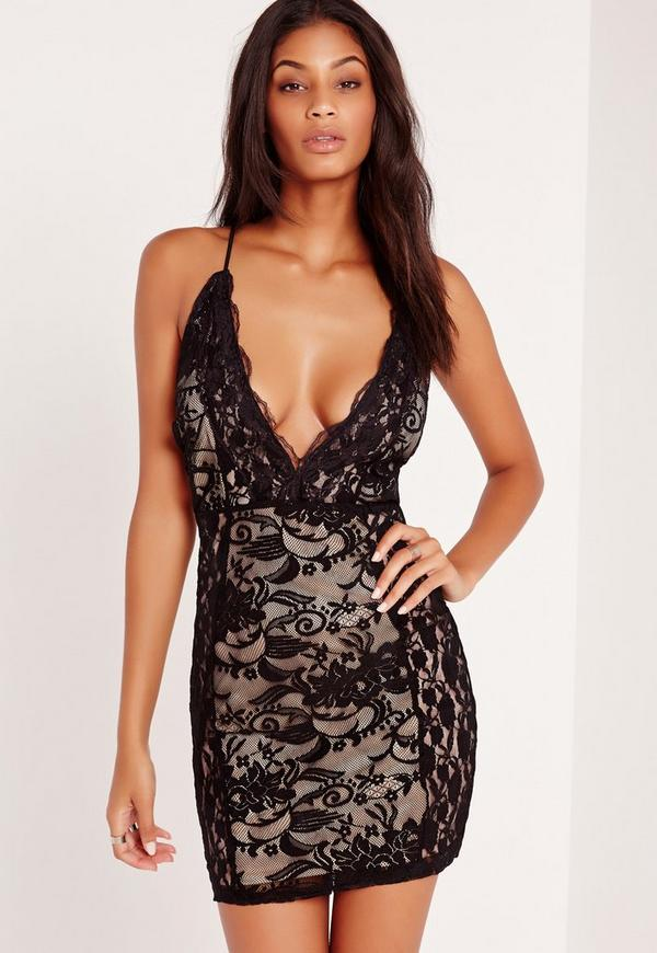 Lace Plunge Strappy Bodycon Dress Black