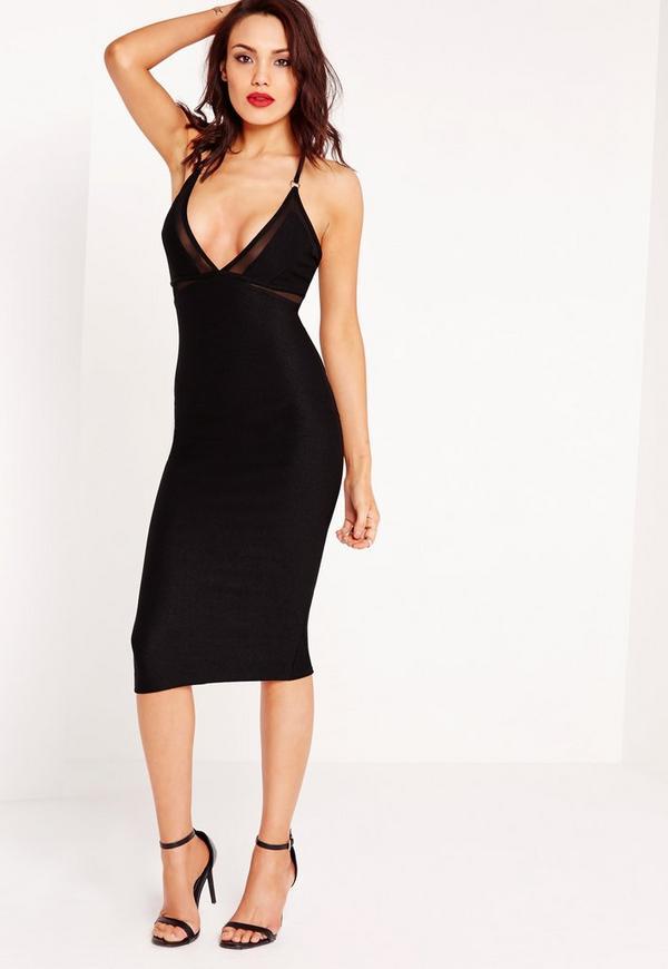 Mesh Insert Ring Detail Midi Dress Black