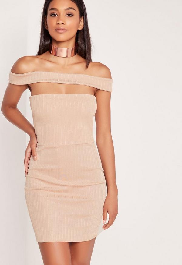 Ribbed Cut Out Panel Bardot Bodycon Dress Nude