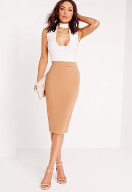Choker Contrast Midi Dress Camel
