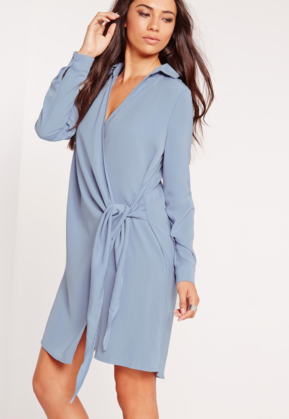 Crepe Wrap Shirt Dress Blue