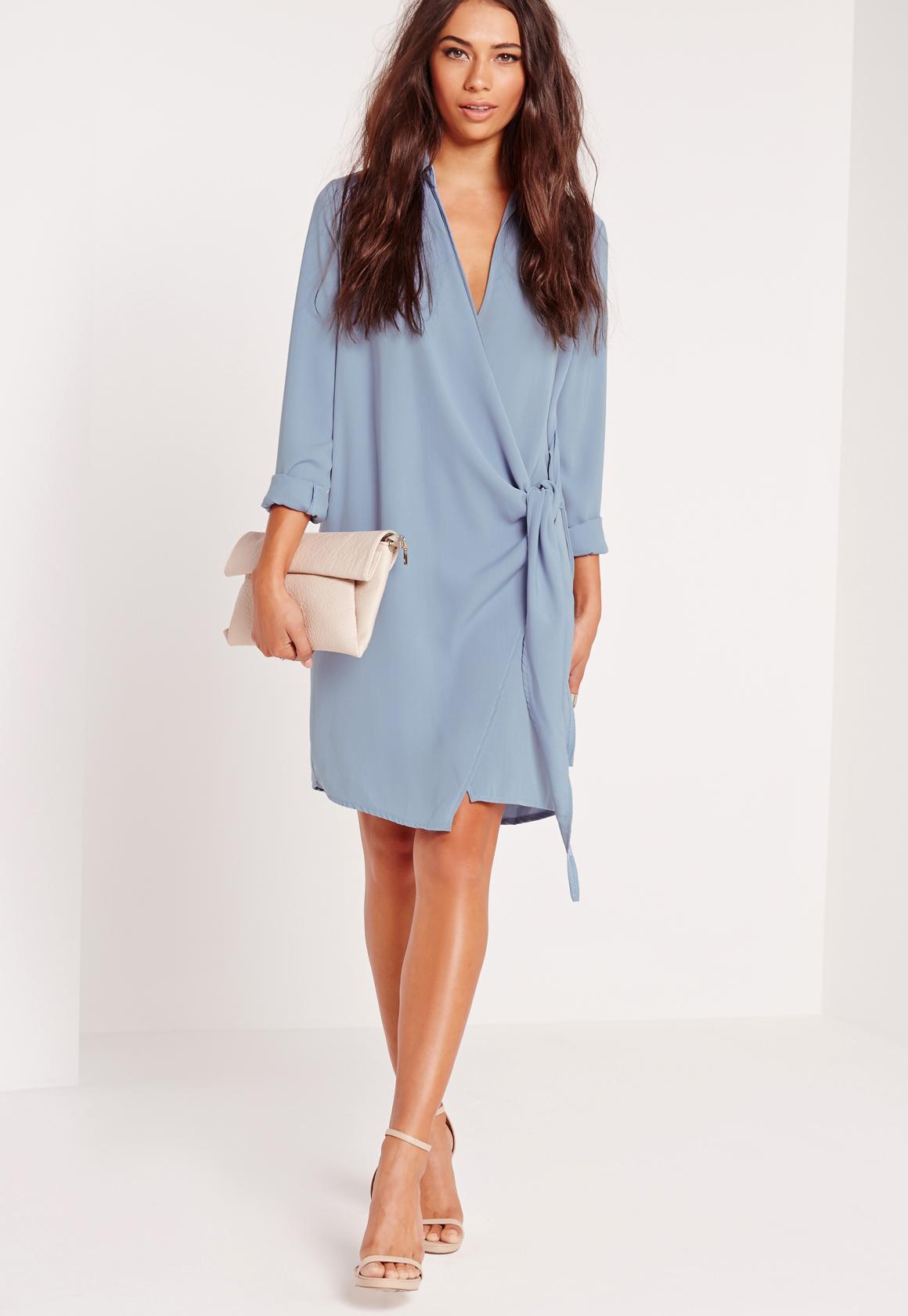 Crepe Wrap Shirt Dress Blue