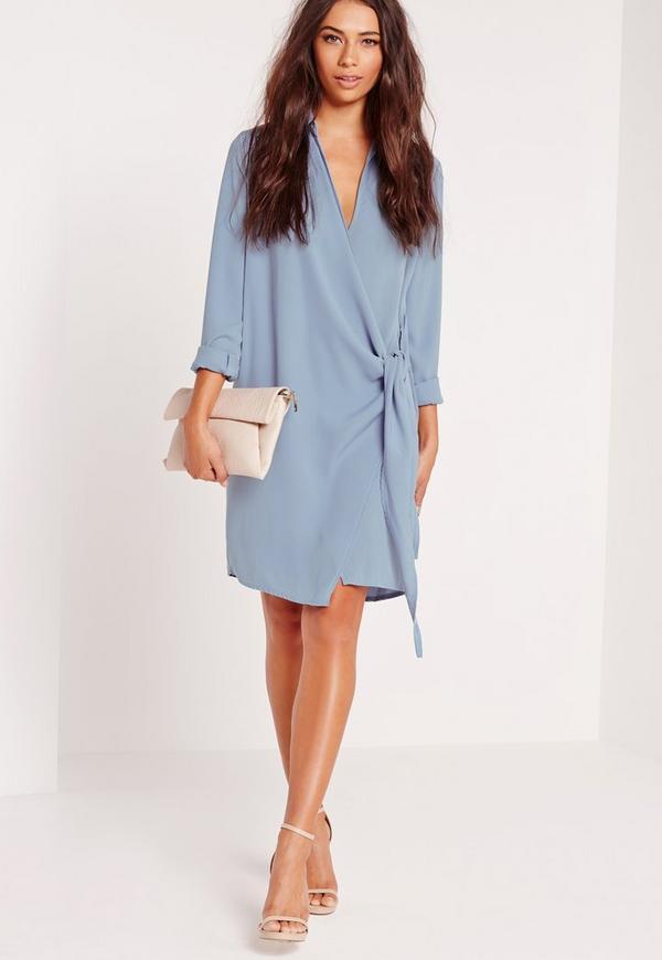 Crepe Wrap Shirt Dress Blue | Missguided
