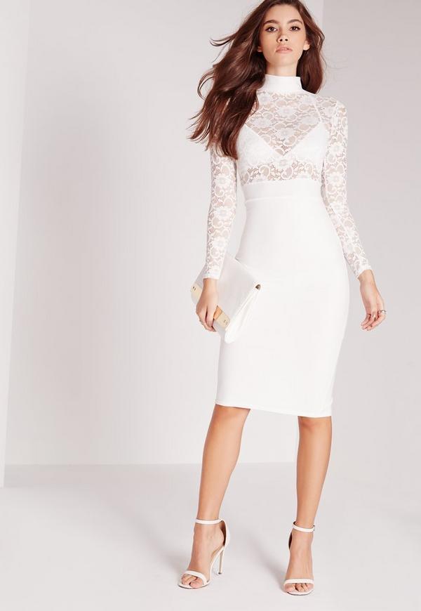 Sheer Lace Top Midi Dress White