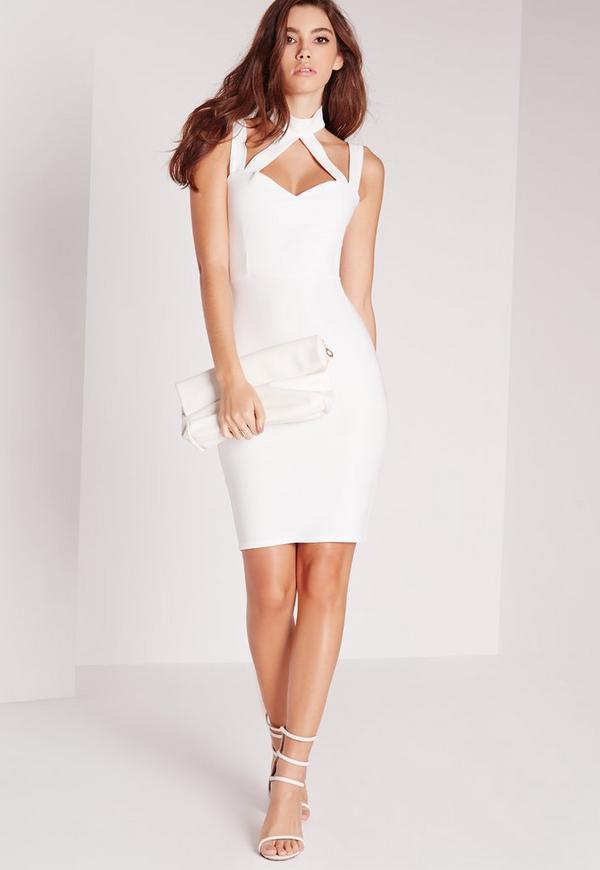 Double Strap Neck Band Bodycon Dress White
