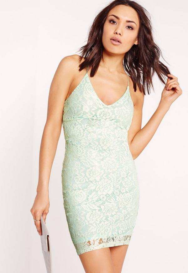 Strappy Lace Bodycon Dress Mint Green