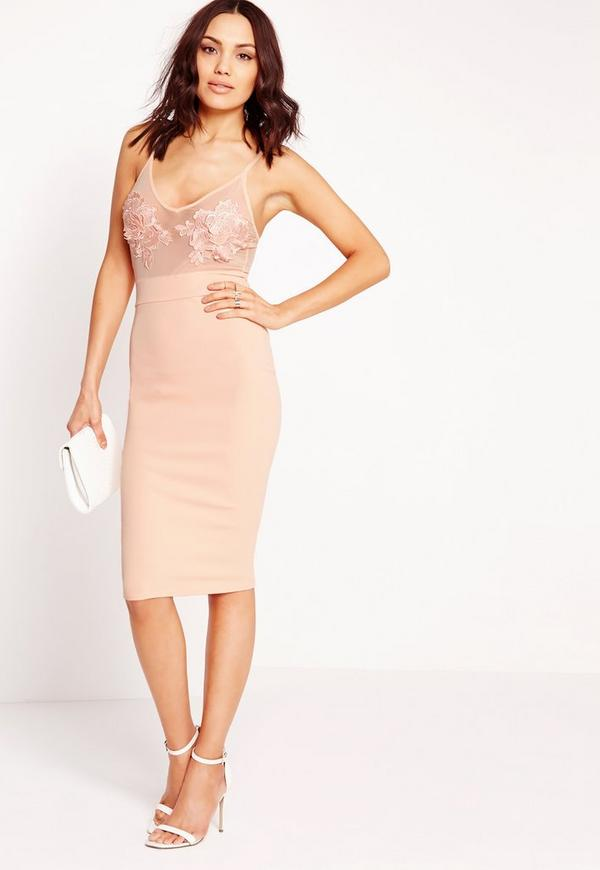 Embroidered Bust Detail Bodycon Dress Peach