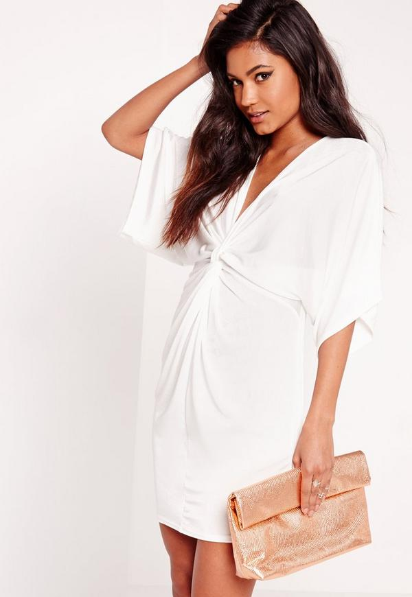 Slinky Kimono Mini Dress White | Missguided