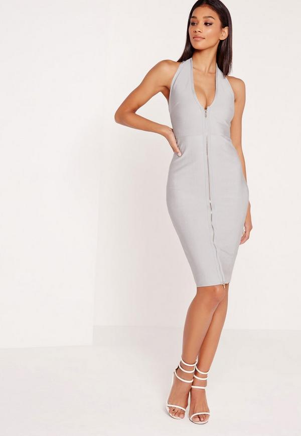 Premium Zip Front Bandage Midi Dress Grey