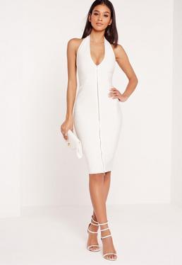 Premium Zip Front Bandage Midi Dress White
