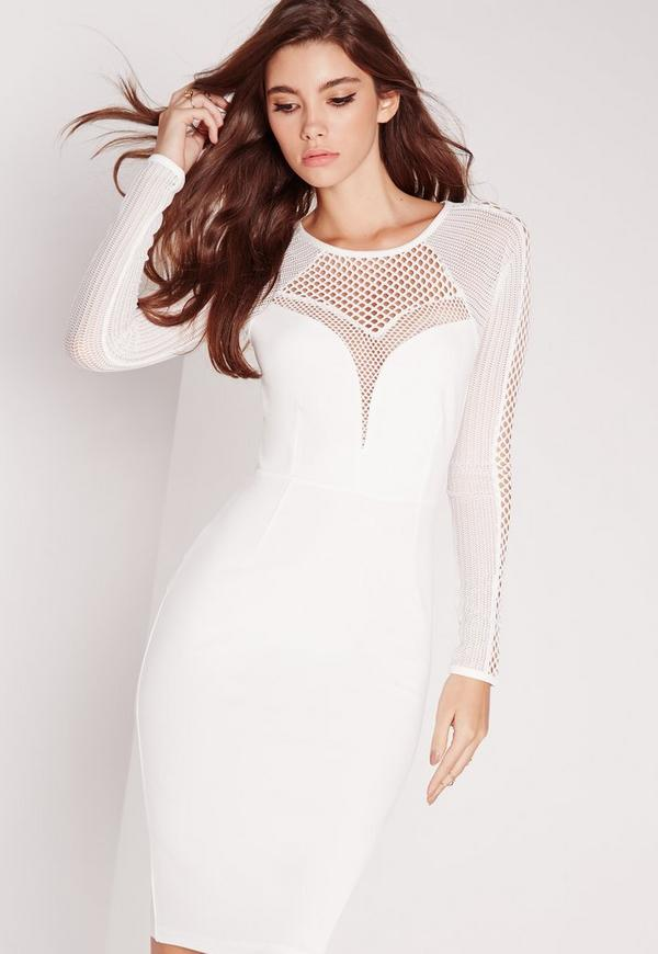 Mesh Insert Long Sleeve Midi Dress White