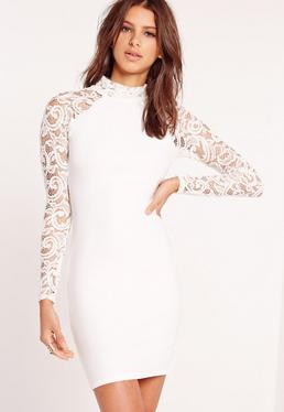 Lace Bodycon Long Sleeve Dress White