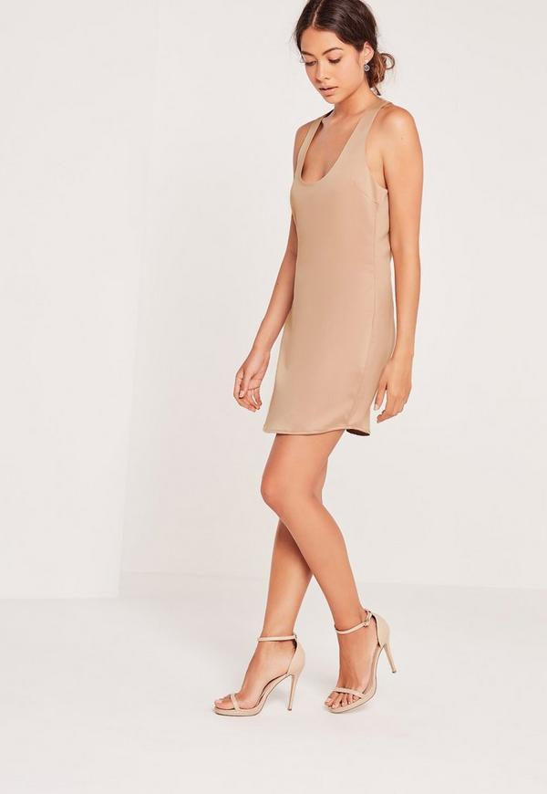 Silky Racer Back Shift Dress Nude